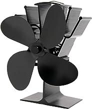 Amuzocity Ventilador de Estufa de 4 Palas para Quemador de Leña/Leña/Leña - Negro, Individual