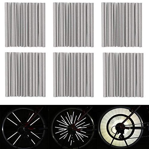 Hezhu 72 Stück Fahrrad Speichenreflektoren, Fahrrad Reflektoren, Reflektierende Speichensticks Clips, Warnstreifen Reflektoren, 360° Speichenreflektoren für Fahrradspeichen (Grau)