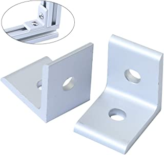 KOOTANS 10-Pack 2 Hole 90 Degree 20 Series Joint Plate Corner Angle Bracket Connection for Slot 6mm 2020 Aluminum Profile