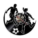 FUTIIF 1 Pièce Hommes Football Match Silhouette LED Veilleuse Disque Vinyle Horloge Murale avec Rétro-Éclairage Football Joueur De Sport Mur Montre Non LED