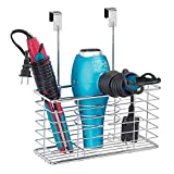 mDesign Farmhouse Metal Wire Bathroom Over Cabinet Door Hair Care & Styling Tool Organizer Storage Basket for Hair Dryer, Flat Iron, Curling Wand, Hair Straightener, Brushes - Holds Hot Tools - Chrome