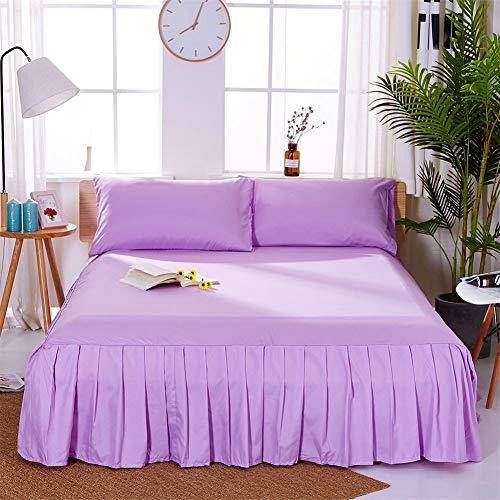 CQZM Modern Einfach Bettvolant Babybett Mit Rüschen Staubdicht Bettrock Tagesdecke Single Double Bed Skirt Schlafzimmer Queen Kingsize Bett Röcke Grau WeißD-150x200cm(59x79inch)