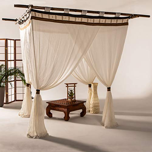 Bali4you Bali Baldachin Cappuccino 160x200 Moskitonetz 100% Cotton inkl. 4 Quasten Betthimmel