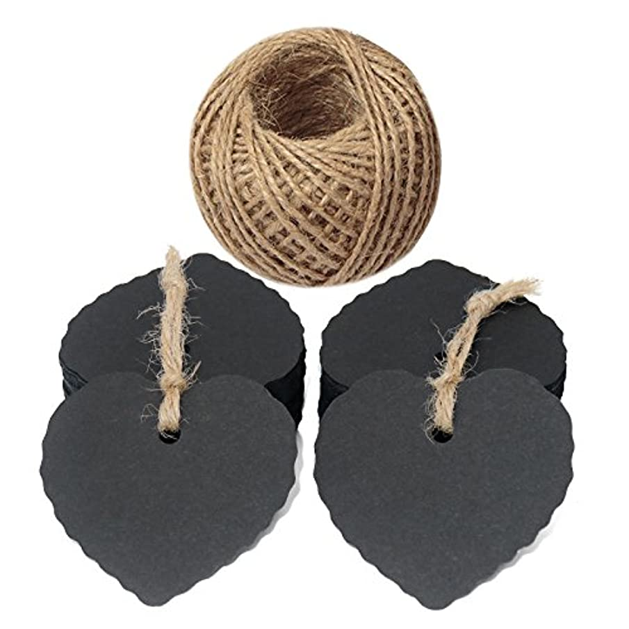 Heart Tags,100 Pcs Paper Tags with 100 Feet Jute Twine,6cm x 5.5cm Black Tags for Wedding,Baby Shower,Father's Day Gift Tags