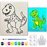 Indigo Art Studio 8x10 Pre Drawn Stretched Canvas Painting for Kids , Custom theme , Birthday Gift Dinosaur Theme , Paint Party Gift Favor , DIY Party