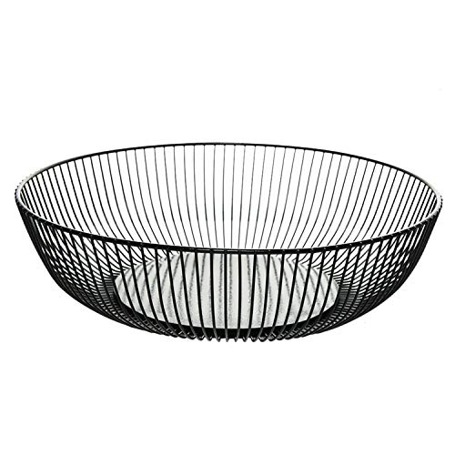 Gonioa Metal Wire Fruit Basket,Fruit Storage Basket Stand for Vegetables,Bread, Snacks, Candy and Home Decorative,Households Items Storage for Kitchen/Livingroom -11 inch Black (Hemisphere)