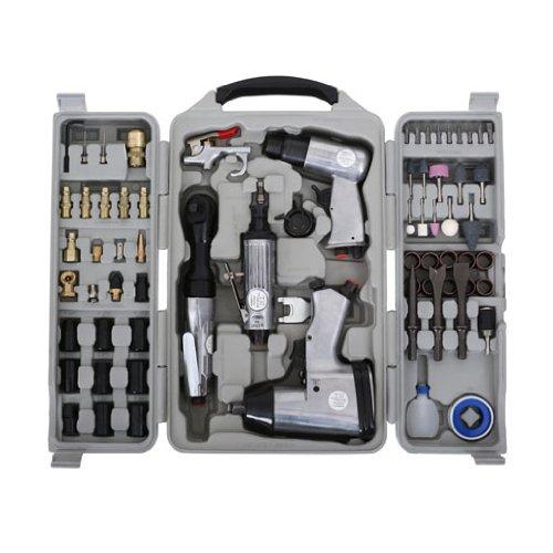 """71-TLG Geräte Set Schlagschrauber Druckluft Ratsche Meißelhammer Stabschleifer (1/4\"""" Druckluftanschluss, Schnellkupplung, umfangreiches Zubehör, Koffer)"""
