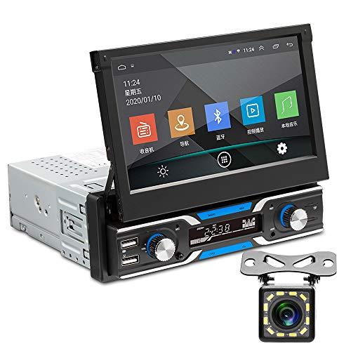 Android Autoradio 1 din GPS Navigazione 7 pollici Capacitivo pieghevole toccare schermo Bluetooth FM Stereo Mobile Phone Mirror Link 3 USB AUX in+posteriore fotocamera