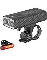MIKUL USB Rechargeable Bike Light,1200 Lumens Super Bright Bicycle Light,Bike Headlight and Tailligh,3+5 Light Modes,IPX5 Waterproof,Fits All Bicycles