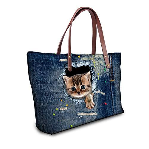 Wanforjewellery Waterdichte Hoge Capaciteit Tas Strand Handtas, Cowboy Cat Print Dame Handtas Schoudertas, cat3