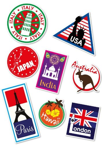 Supertogether World Travel Locations Suitcase Stickers - von 8 Luggage Labels Aufkleber Set