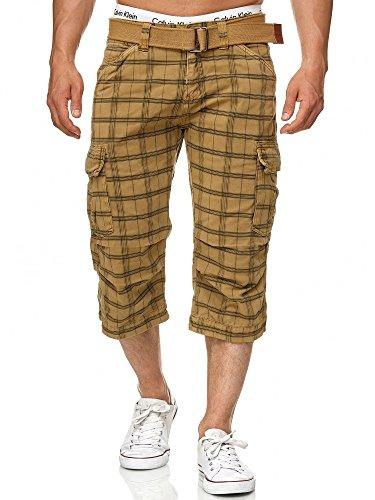 Indicode Herren Nicolas Check 3/4 Cargo Shorts kariert mit 6 Taschen inkl. Gürtel aus 100{1ce7d40ffbdd543ca349d4676685c026b05e7648b88465a1411bf2461f654cf9} Baumwolle | Kurze Hose Sommer Herrenshorts Short Men Pants Cargohose kurz für Männer Amber Check L