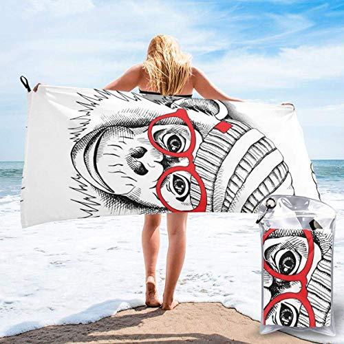Beach Towels Lindo bebé mono con gafas Toalla ligera de secado rápido Toalla súper absorbente sin arena para viajes, natación, gimnasio, yoga 140X70CM