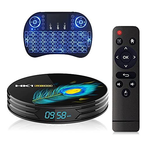 GEQWE Android TV Box 11.0, Smart TV Box RK3318 8GB 64GB Soporte 2.4G 5.8G WiFi Bluetooth 4.1 con Mini Teclado Retroiluminado Ethernet LAN 3D 4K Video Android TV Set Top TV Box,4gb+32gb