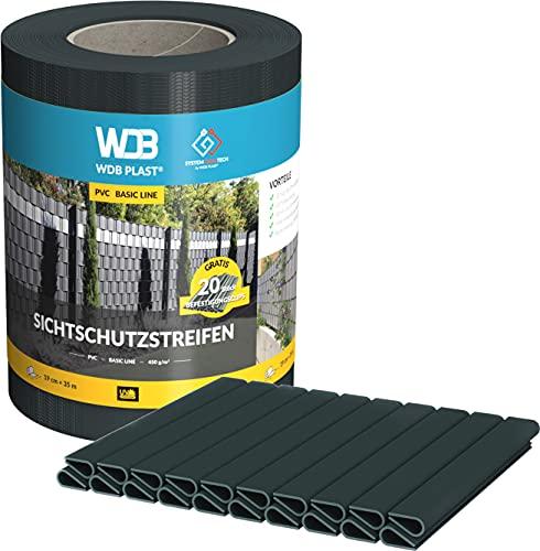 WDB Basic Line - Strisce di protezione in PVC per recinzioni da giardino e recinzione a doppia asta, 35 m x 19 cm, 20 clip di fissaggio (antracite RAL 7016)