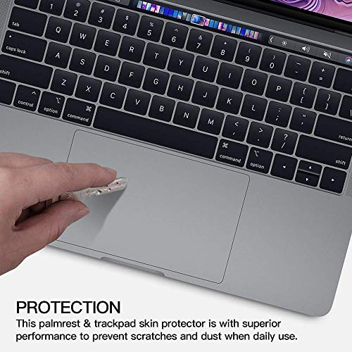 FORITO Palm Rest Cover Skin with Trackpad Protector for MacBook Pro 15 Inch 2019 2018 2017 or 2016 Released Model A1707 A1990 with Touch Bar (Space Gray)