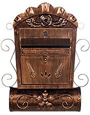 LB6028 Antieke, grote en zeer elegante brievenbus, brons, aan de muur, brievenbus, vintage Engelse brievenbus, metaal, 49 cm hoog Met apart krantenvak.Met muurbevestigingsmateriaal, met 2 sleutels, roestvrij.