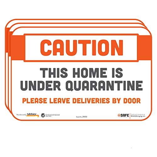 BeSafe Messaging'Caution This Home is Under Quarantine. Please Leave Deliveries by Door' Repositionable Wall Safety Sign for Social Distancing, 3 Pack, 9'x6'