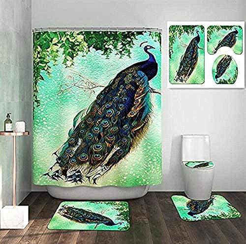Conjunto de patrón de pájaro Cortinas de baño de pájaro de pájaro Cortina de Ducha de Pavo Real