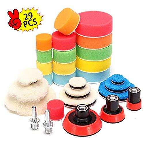 Phiraggit Almohadillas de pulido para automóvil, kit de esponja de pulido de 29 piezas con adaptador M10, hecho de esponja y conjunto de pulido de lana para encerar muebles