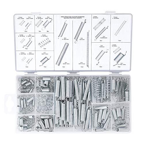 200 Stück Feder Sortiment Set Kit, Zugfedern, Schwingfeder, Edelstahl Druckfeder, Stahlfedern mit Box