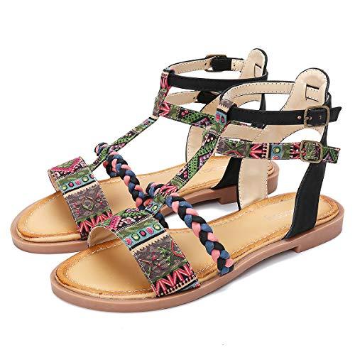 gracosy Sandalias Planas Gladiador Mujer Verano 2019 Confort Punta Abierta Zapatos para Caminar Casual Antideslizantes Correa de Tobillo Tacón Bajo Fiesta al Aire Libre Sandalias de Playa