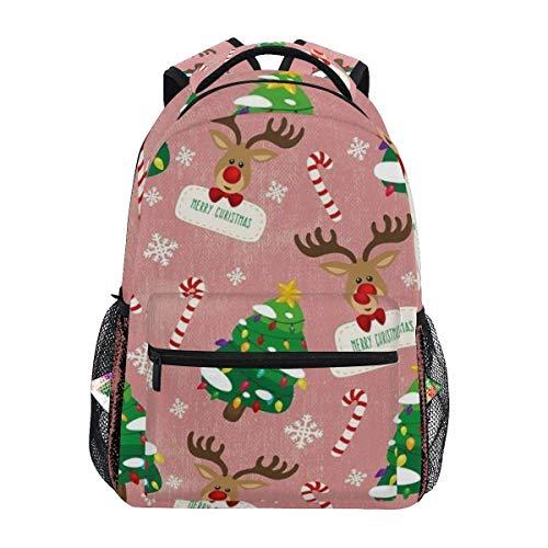 Bokueay Mochila escolar Cajas de regalo con diseño navideño Mochila para niños, niñas, escuela primaria, bolsa de viaje informal, mochila para ordenador portátil