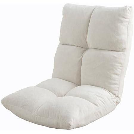 アイリスプラザ 座椅子 リクライニング 14段階 低反発 モコモコ なめらか マイクロファイバー生地 ホワイト FC-540