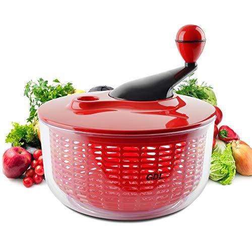 Salatschleuder, Salatschleuder, Waschtrockner mit Schüssel, groß, 5 l, BPA-frei, leicht zu reinigen für Gemüse und Obst, groß 4,5 Quart