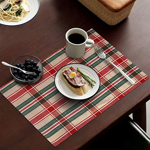 Urban Villa, 95% Cotton 5% Lurex Christmas Fused Place Mats,14''x 20'' Over Sized,Set of 6,Red/Green/Lurex, Every Day Use,Heavier Quality