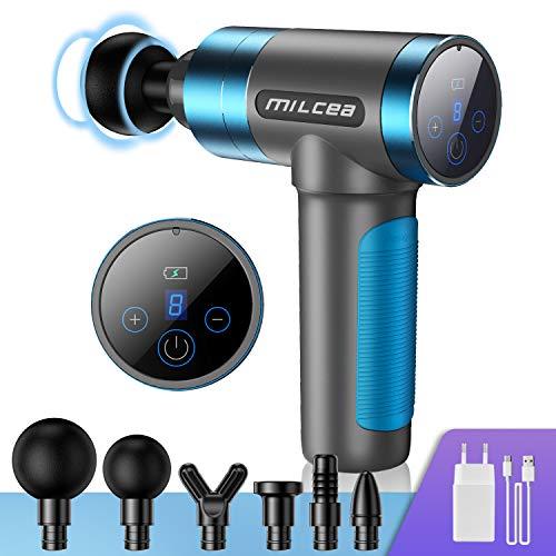FYLINA Massagepistole,Muscle Massage Gun Massagegerät Elektrisch für Nacken Schulter Rücken Handmassagegerät mit LED-Anzeige 6 Massageköpfen und 5 Geschwindigkeiten Vibrationsgerät Muskel (Blau)