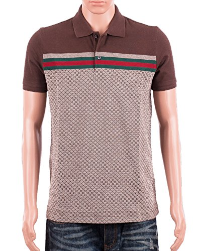 Gucci Mens Polo Shirt Brown with Diamante Print and Front Stripe Signature (L)