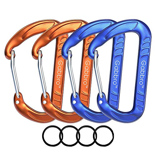 Gabbro Carabiner, 4 Pack 12kN Wiregate Carabiner Clip, 3/4oz Aircraft Grade Aluminum Caribeaners for Keychain Dog Leashes&Harness, Heavy Duty Caribeaners for Camping, Hiking, Swing, Hammock (Org+Blue)