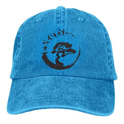 XCNGG Bonsai-Baum für Männer/Frauen in Enso Circle Birds Denim Jeanet Baseballkappe Verstellbare Hip-Hop-Kappen