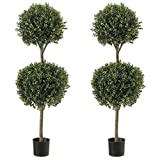 Northwood Calliger 4.6' (56') Artificial Topiary Ball Boxwood Trees Highly Realistic Potted Decorative Buxus Shrubs | Fake Plastic Plants for Home/Garden Décor | Indoor & Outdoor Use|UV Protected (2)