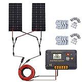 ECO-WORTHY 200 vatios (2 piezas 100 vatios) Panel solar monocristalino completo Kit de barco RV sin conexión a la red con controlador de carga LCD + cable solar + soportes de montaje