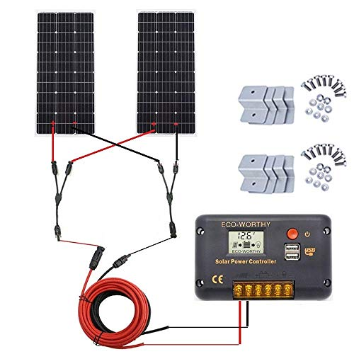 ECO-WORTHY 200 Watt (2pcs 100 Watt) Monokristallines Solar Komplett Kit für netzunabhängige Caravan-Boote mit LCD Laderegler + Solarkabel + Solarpanel Montagehalterungen