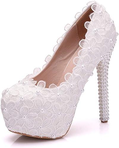 SYXLBDK Chaussures Femme Décontracté blanc Lace Brodé De Fleurs De 14 Cm De Talon Haut Pearl Chaussures Tête Ronde Plate - Forme Unique De Chaussures étanches
