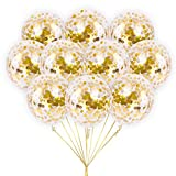 Large Gold Foil Confetti Balloons | Vibrant Confetti Pre-Filled | Wedding Engagement Birthday Party Events (16 Pack Gold, 18 Inches)