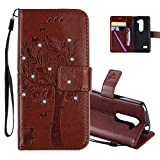 HMTECHUS LG Leon 4G LTE H340N Case 3D Crystal Embossed Love Cat Butterfly Handmade Diamonds Shine PU Flip Stand Card Holders Wallet cover for LG Leon 4G C40 Wishing Tree Coffee KT