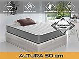 Dormi Premium Elax 30 - Colchón Viscoelástico, 90 x 190 x 30 cm, Algodón/Poliuretano, Blanco/Gris, Individual