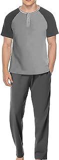 Mens Pyjamas Set 100% Cotton Soft Short Sleeve Top Pants Round Neck Loungewear Pjs Casual Nightwear Sleepwear