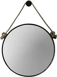 Retro Metal Wall Hanging Mirror with Hemp Rope Round Decorative Bathroom Mirrors Creative Makeup Shaving Iron Mirrors Large (Color : Black, Size : 60cm)