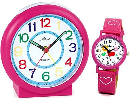 Kinderwecker Mädchen ohne Ticken Rosa + Armbanduhr Pink - 1917-8 KAU