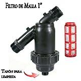 FILTRO de MALLA 1' para tubería 32mm. Utilizado en instalaciones de riego y RIEGO POR GOTEO. Rosca macho 1' con capacidad filtrado 120 Mesh.