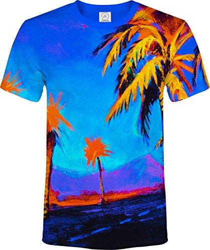 ハワイ 手のひら 木 パラダイス 青 穏やか オレンジ 休暇 蛍光の ネオン ブラックライト 反応性 Tシャツ