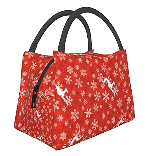 Bolsa de almuerzo portátil con diseño de copos de nieve rojos y galgos blancos de gran capacidad, ideal para picnic, trabajo, viajes escolares