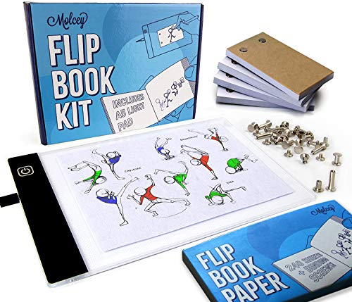 Flip Book Kit - LED Lightbox for Drawing and Tracing & 240 Sheets Animation Paper for Flip Books A5 Flipbook Kit: Led Light Box/Light Tablet for Tracing Flip Book Paper with Screws Flipbook Light Pad