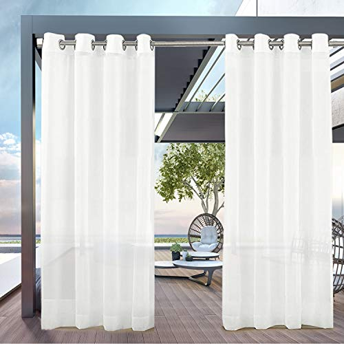 PRAVIVE Outdoor Patio Sheer Curtains -Set of 2 Grommet Top Light Blocking Waterproof Voile Sheer Drapes for Balcony/Porch/Deck Decor with 2 Tiebacks, Off White, 54 by 108 Inches