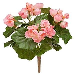 """Silk Flower Arrangements OakRidge Silk Begonia Bush – Artificial Flowers Outdoor Décor – Pink, 10"""" Long"""